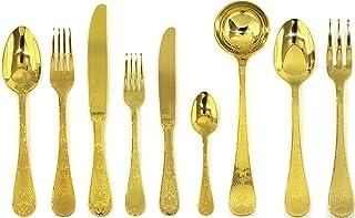 Mepra 1097CB22039 Oro Flatware Set, [39 Piece, Polished Gold Finish, Dishwasher Safe Cutlery