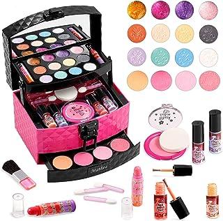 Mathea 29 Pcs Washable Makeup Toy Set with Luxury Diamond Pattern Box Real Cosmetic Beauty Set...