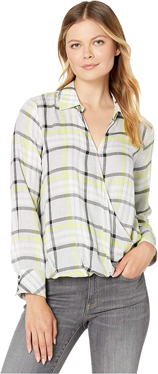 TWO by Vince Camuto Womens Sleeveless Tranquil Plaid One-Pocket Long Tunic