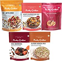 Nutty Gritties Mixed Dry Fruits Combo Pack of 18 Nuts, 1.15Kg - Sports Mix, Mix Berries, Seeds Mix, Mom Superfood Mix...