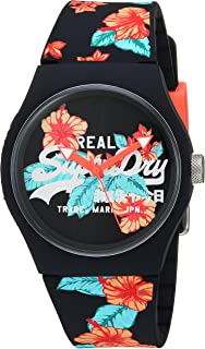 Superdry Women's 'Urban Tropical' Quartz Plastic and Silicone Casual Watch, Color:Black (Model: SYL160BO)