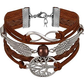Hommes Femmes infinity love cœur arbre de vie Amitié Cuir Charme Bracelet