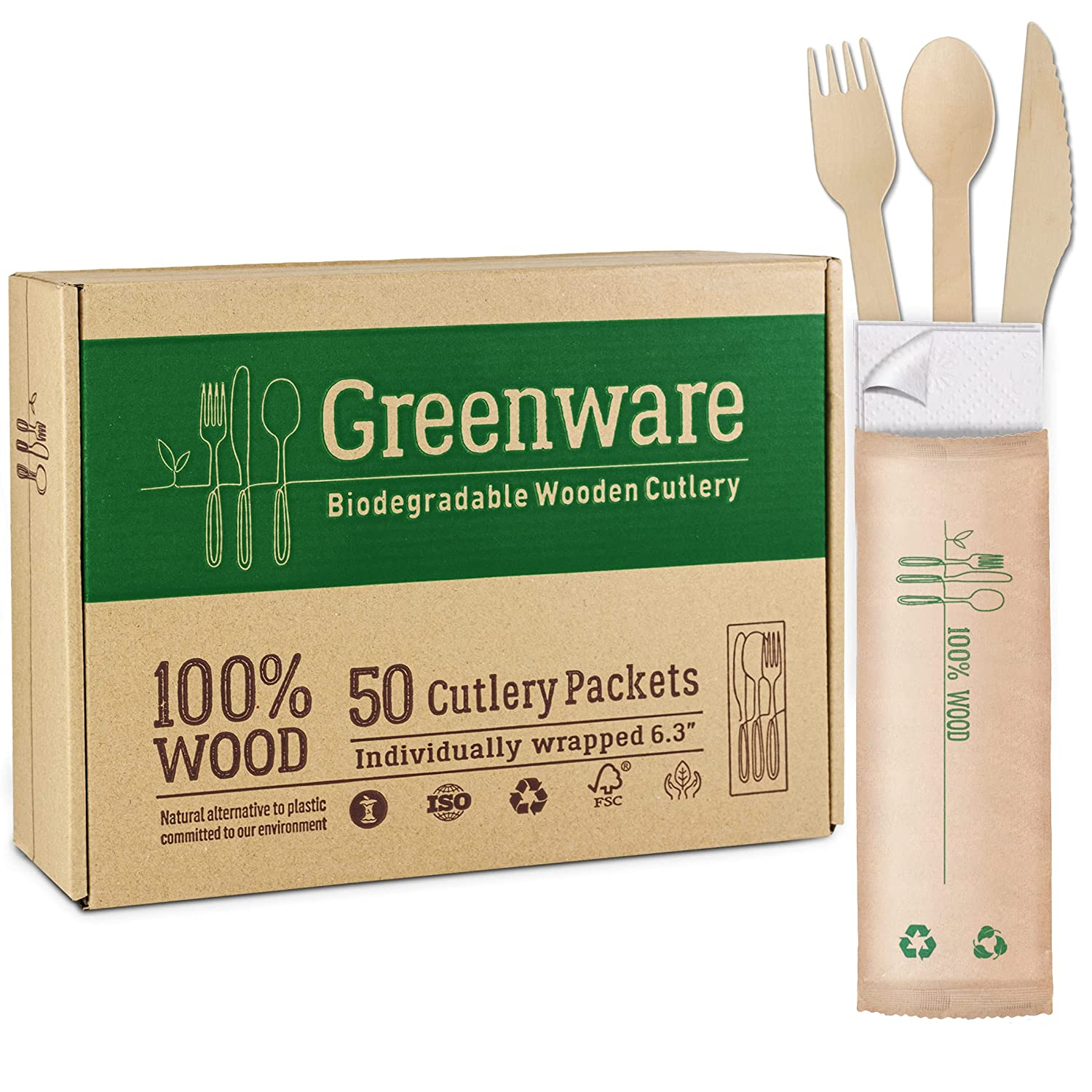 50 Disposable wooden cutlery packets | individually wrapped set of fork knife spoon and napkin | 100% compostable wood and paper Eco Friendly Alternative for Plastic