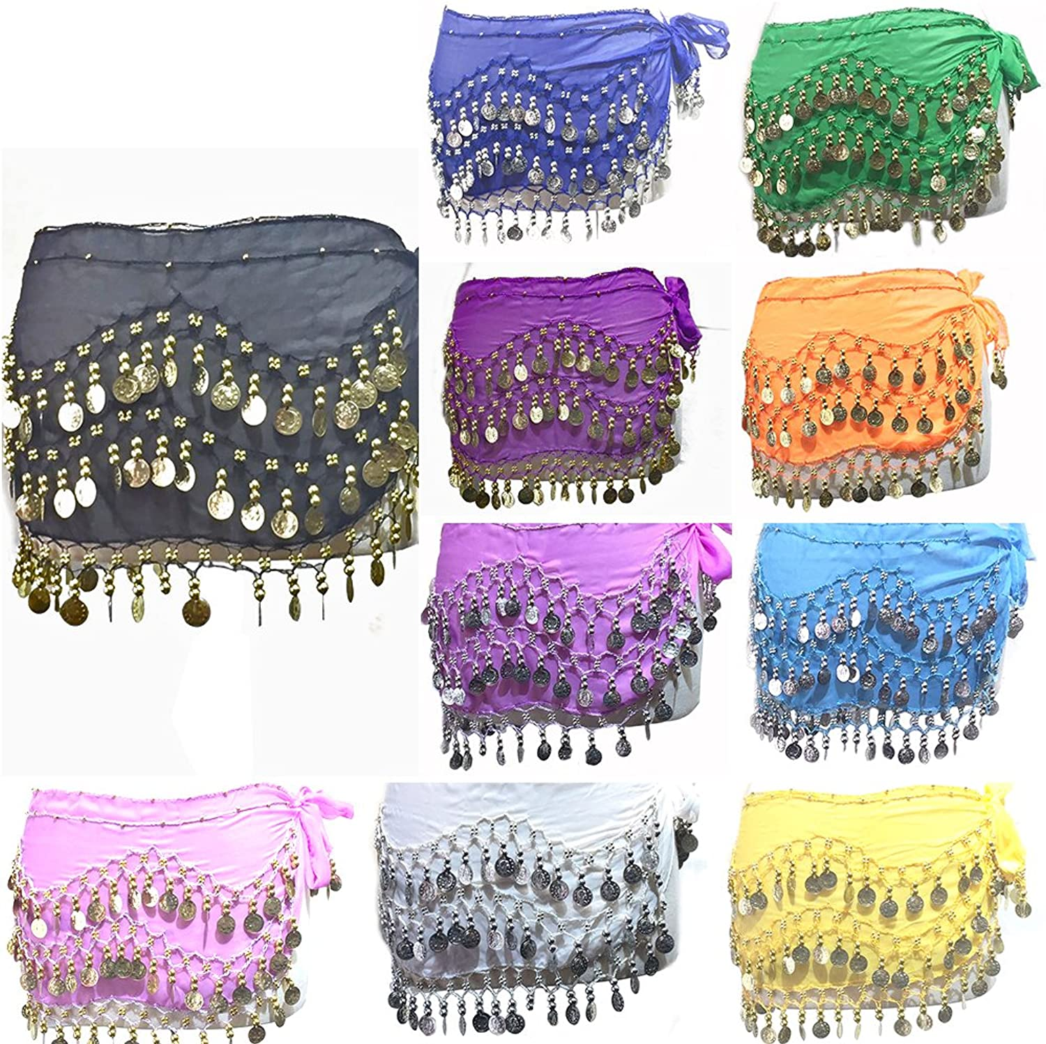 REINDEAR 12 Pcs Belly Dance Skirt Scarf Hip Wrap Belt Wholesale Low Price Voile Coins US Seller