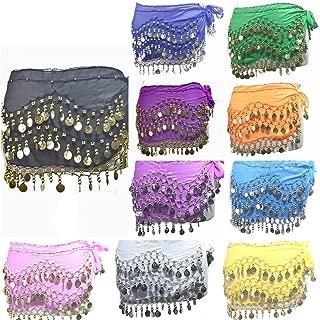 REINDEAR 12 Pcs Belly Dance Skirt Scarf Hip Wrap Belt Wholesale Low Price Voile Coins US Seller