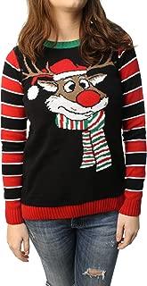 Ugly Christmas Sweater Junior's Reindeer Surprise Scarf Pullover Sweatshirt Black