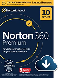 Sponsored Ad - Norton 360 Premium 2021 – Antivirus software for 10 Devices with Auto Renewal - Includes VPN, PC Cloud Back...