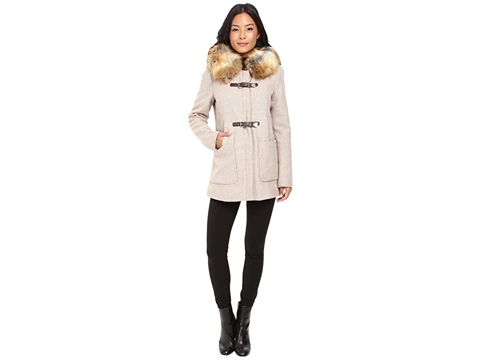 Calvin Klein Fur Trimmed Toggle w/ Oversized Pockets (Oatmeal) Women