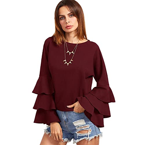 8567e556aed029 SheIn Women's Round Neck Ruffle Long Sleeve Blouse