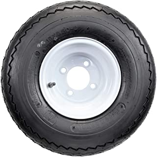 "Four Golf Cart Tires & Rims 18 X 8.5 X 8 18-850-8 18X8.50-8 White 4 Lug Hole 18"""