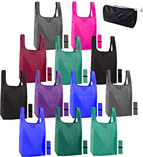 12 pack reusable bags for shopping. Ripstop Eco friendly recycle bags. Reusable grocery bags foldable washable reusable XL...