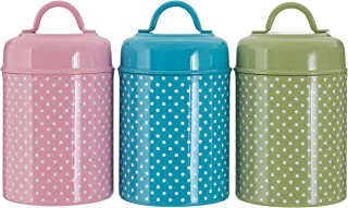 Premier Housewares Lily Tea/Coffee/Sugar Canisters - Pastel, Set of 3