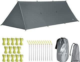 N8URE Outdoors Hammock Tent Rainfly Tarp 10x10x16' Waterproof Ripstop Nylon Shelter with Doors Ultralight Shade Canopy 20 x Tie-Outs Backpack Hike Bushcraft Survival Gear Includes Stakes Guy Ropes
