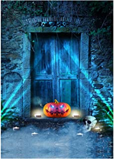 DULUDA Halloween Night Photo Backdrop Evilly Laughing Spooky Scary Pumpkin Lantern Cemetery Gate Photography Background fo...