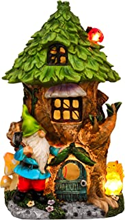 TERESA'S COLLECTIONS 10.2 Inch Gnome House Garden Statues with Solar Lights, Fairy Garden Tree House with Gnomes, Garden S...