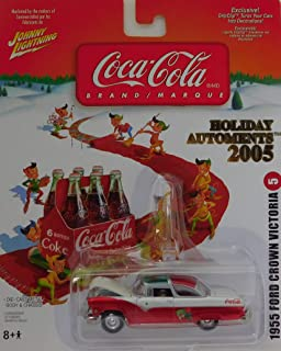 Johnny Lightning 1955 Ford Crown Victoria (Feliz Navidad Print) Coca-Cola 6 Pack Card with Elves Holiday Automents 2005 Edition #6 1:64 Scale die-cast