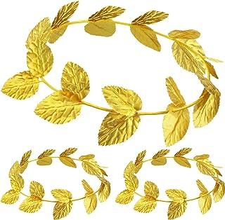 Roman Laurel, Roman Head Wreath Leaf Crown Headdress Roman Leaf Headband Toga Headwear, Gold (Knitted Fabric, 3 Pieces)
