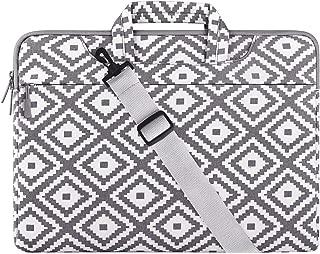 MOSISO Laptop Shoulder Bag Canvas Geometric Pattern Sleeve Multicoloured Gray Rhombus 15-15.6 Inch