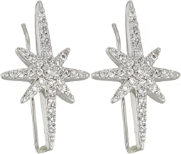 Betsey Johnson Blue by Betsey Johnson Silver Tone Earrings Climbers with Pave Crystal Accented Starburst