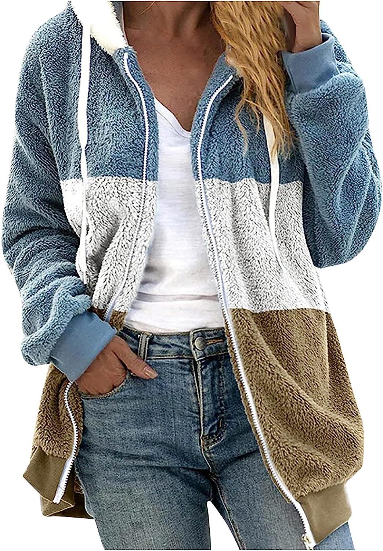 KIKX0DE Winter Coats for Women Faux Shearling Patchwork Warm Hooded Coat with Pockets