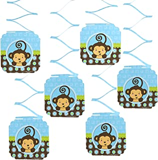 Big Dot of Happiness Blue Monkey Boy - Baby Shower or Birthday Party Hanging Decorations
