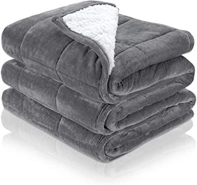 """Noahas Weighted Blanket for Adults Sherpa Fleece Blanket Dual Sided Fluffy Blanket with Soft Plush Flannel Ultra Luxurious Fuzzy Throw Blanket fit Couch Bed Sofa, 15 lbs, 48""""x72"""", Grey"""