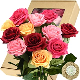 FiveSeasonStuff Fake Roses Wedding Flowers Real Touch Silk Medley Rose Mix Artificial Flowers (Yellow, Dark Red, Coral Pink, Pink) 12 Stems
