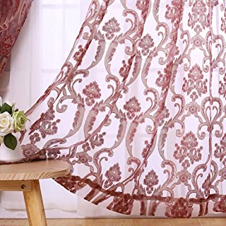 Sheer Curtains Clover Embroidered Elegance Window Treatment Rod Pocket Voile Panels for Living Room /& Bedroom 1 Panel, W 50 x L 63 inch, Brown -1280116C1FFCBNX65063-8516