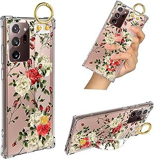 Samsung Galaxy Note 20 Ultra 5G Case Red Rose Wrist Strap Band Kickstand Soft TPU Bumper Hard PC Shockproof Anti-Fall Scra...