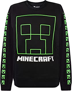 Minecraft Creeper Face Boy's Black Sweatshirt