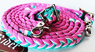 CHALLENGER Horse Roping Knotted Tack Western Barrel Reins Nylon Braided Rein Pink TQ 607304