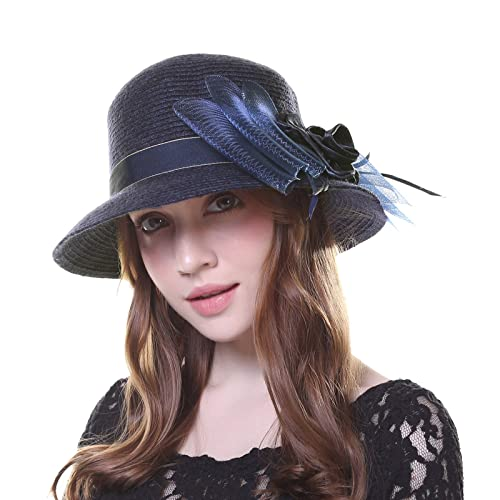Kajeer 1920s Winter Hat Wool Bucket Bowler Church Hats for Women dabbc273c26