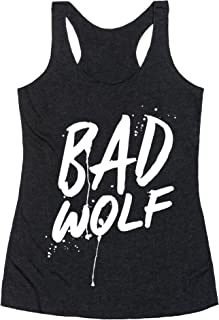 LookHUMAN Doctor Who Bad Wolf Heathered Black Women's Racerback Tank