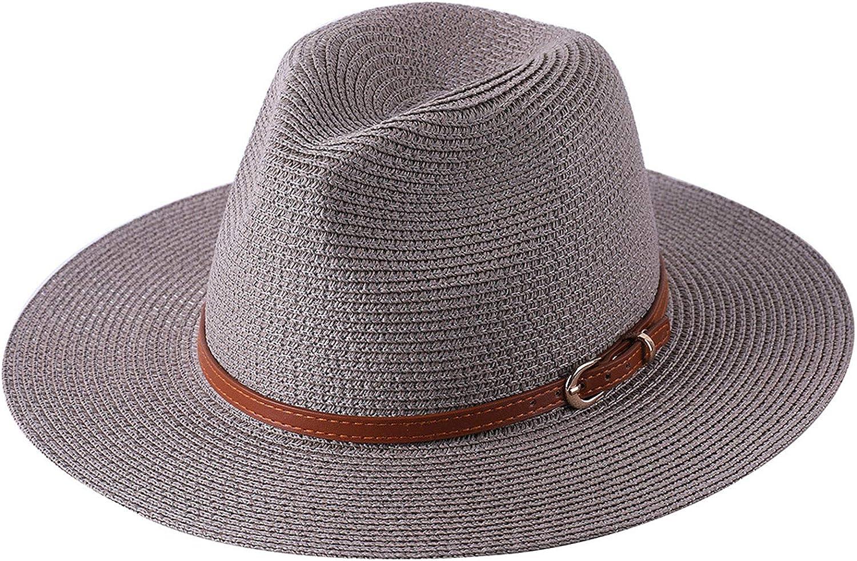 Women Wide Brim Straw Panama Roll up Hat Fedora Beach Sun Hat (3 Grey Coffee, One Size)
