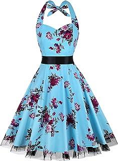 cf7189017f OTEN Women s Vintage Polka Dot Halter Dress 1950s Floral Sping Retro  Rockabilly Cocktail Swing Tea Dresses