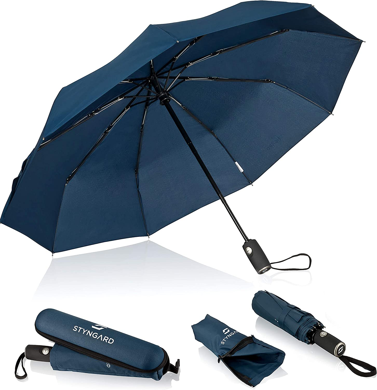 automatic incl umbrella bag and travel case . small and light with Teflon coating black and blue STYNGARD Umbrella storm-proof up to 140 km//h pocket umbrella with automatic open//close