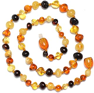 Baltic Amber Teething Necklace for Baby with mixed Color Beads - Teething Pain Relief with Certified Amber - Natural Analgesic - Safety Knotted - Highest Quality Jewelry for Your Kid (Mix 12.5')
