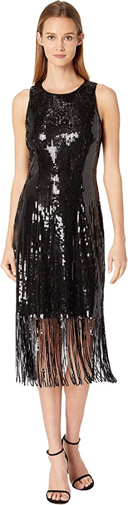 Sequin Sheath Dress with Fringe