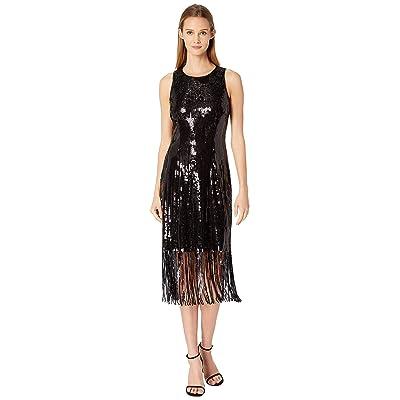 Tahari by ASL Sequin Sheath Dress with Fringe (Black) Women