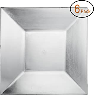 FANTASTIC :) Square 13 Inch Plastic Charger Plates with Eletroplating Finish (6, Plain Silver)