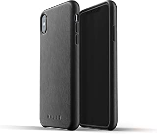 Mujjo Full Leather Case for iPhone Xs Max   Premium Genuine Leather, Natural Aging Effect   Super Slim, Leather Wrapped, Wireless Charging (Black)