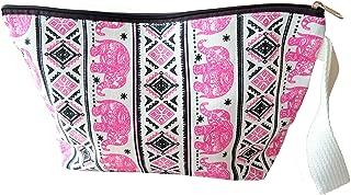 Elephant Pink Canvas Cosmetic Bag Makeup Tribal Bohemian Gypsy Pen Pencil Fabric Zipper Zip Purse Handle Case Handmade Craft Handicraft All purpose Handbag Thai Thailand Animal Lover