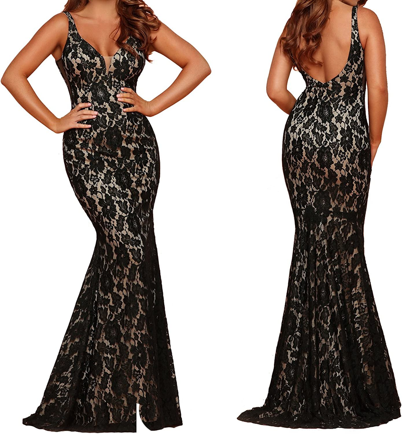 Caterinasara Mermaid Formal Prom Pageant Gown Juniors Lace Evening Homecoming Dress Black Nude