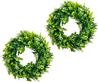 bhappy Small Boxwood Wreath 10 inch with Fruits Small Artificial Greenery Wreath Mini..