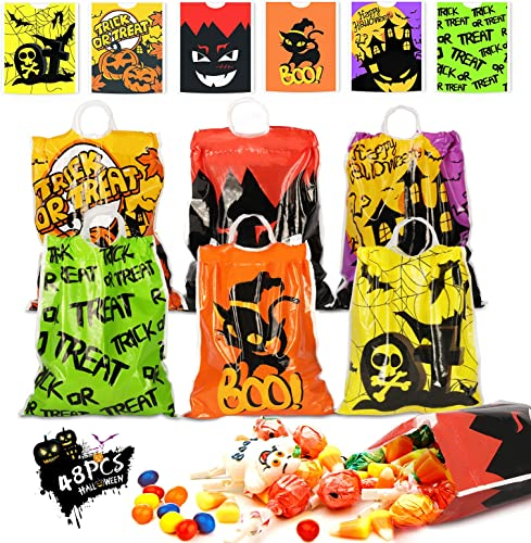 discount Kidtion Halloween Drawstring Goody Bags 48 PCS, Reusable Halloween Bags, new arrival Durable Trick or Treat discount Bags & Halloween Treat Bags, Halloween Candy Bags & Halloween Bags with Large Capacity & 6 Patterns online sale