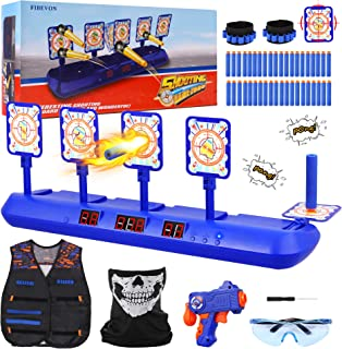Fibevon Electronic Shooting Target for Nerf Gun, Kids Practice Targets Kit w/Blaster, Vest, Glasses, Bandanas, Wristbands and Foam Darts, Ideal Toy Gift for Boys, Girls Aged 5-13