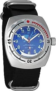 Vostok Amphibian Automatic Mens Wristwatch Self-Winding Military Diver Amphibia Case Wrist Watch #090656 Scuba Dude Blue Dial