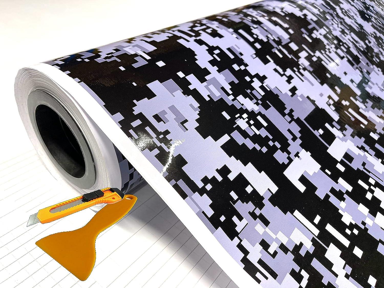 Digital Black Gray Glossy Vinyl Car Sheet Free Cutte Max 72% OFF Film safety + Wrap