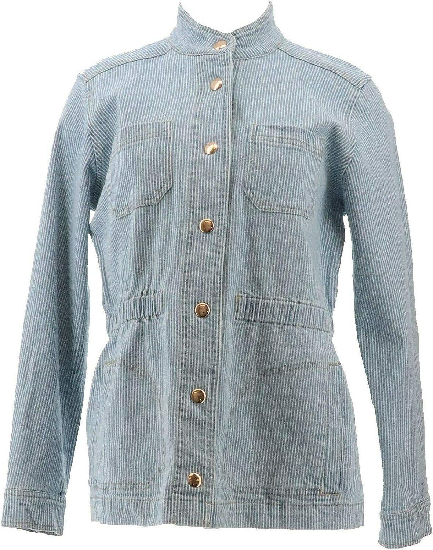 Lemon Way Women's Railroad Striped Denim Jacket