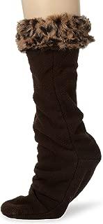Women's Faux Fur Cuff Calf Length Boot Liner Socks